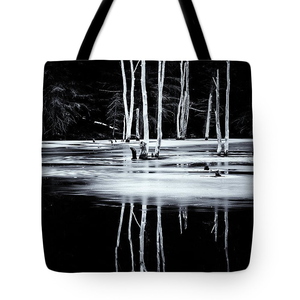 Marlboro Tote Bag featuring the photograph Black And White Winter Thaw Relections by Tom Singleton