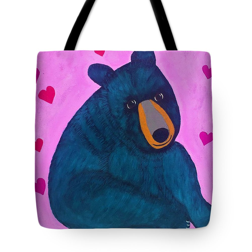 Bear Tote Bag featuring the painting Black Bear by Sue Gurland