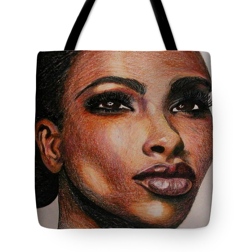 Pencil.color Pencil Tote Bag featuring the drawing Black Beauty 1 by Sheron Petrie