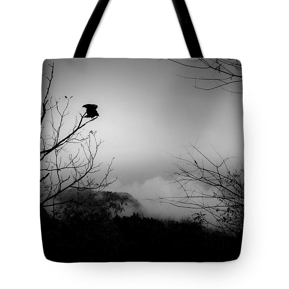 Black Tote Bag featuring the photograph Black Buzzard 8 by Teresa Mucha