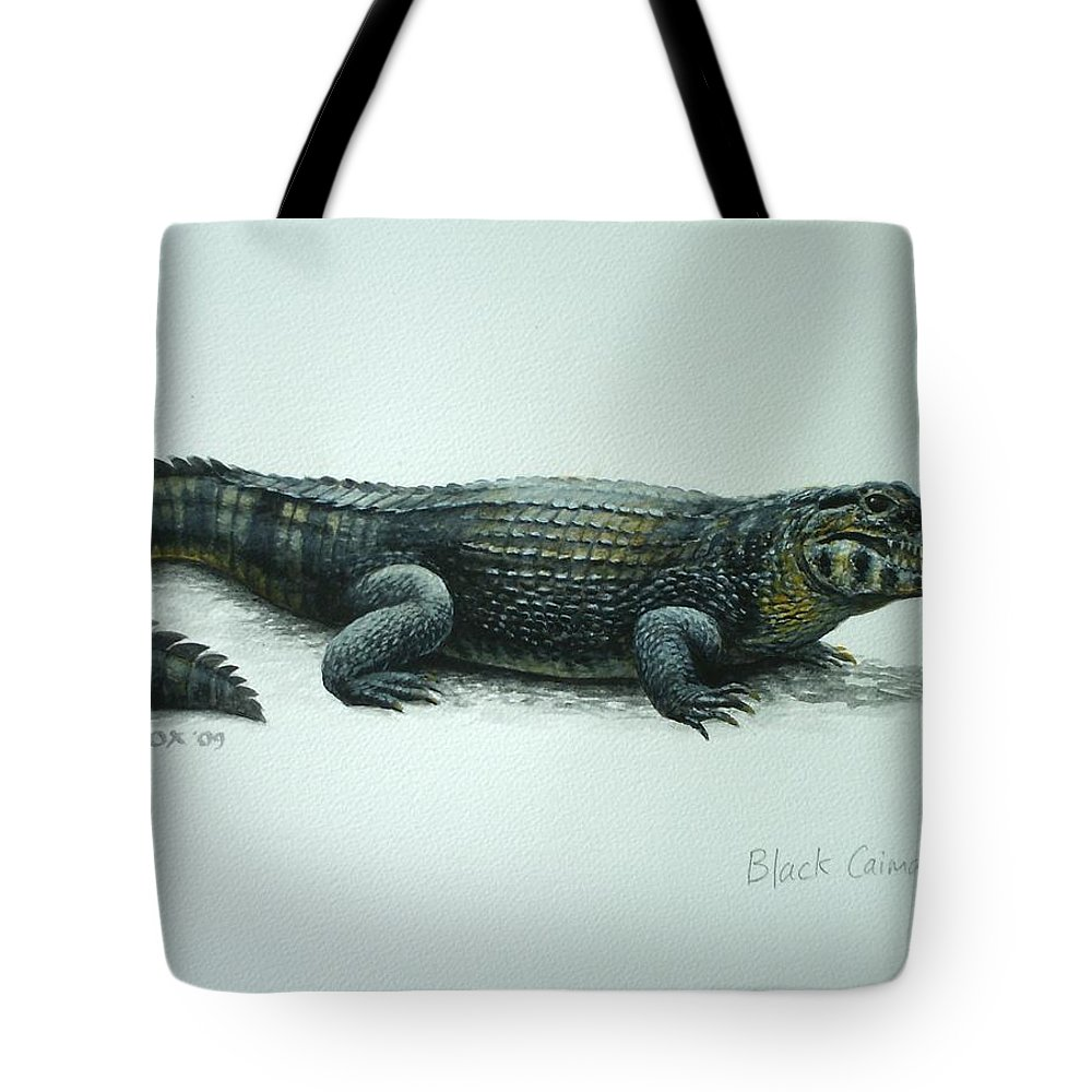 Black Caiman Tote Bag featuring the painting Black Caiman by Christopher Cox