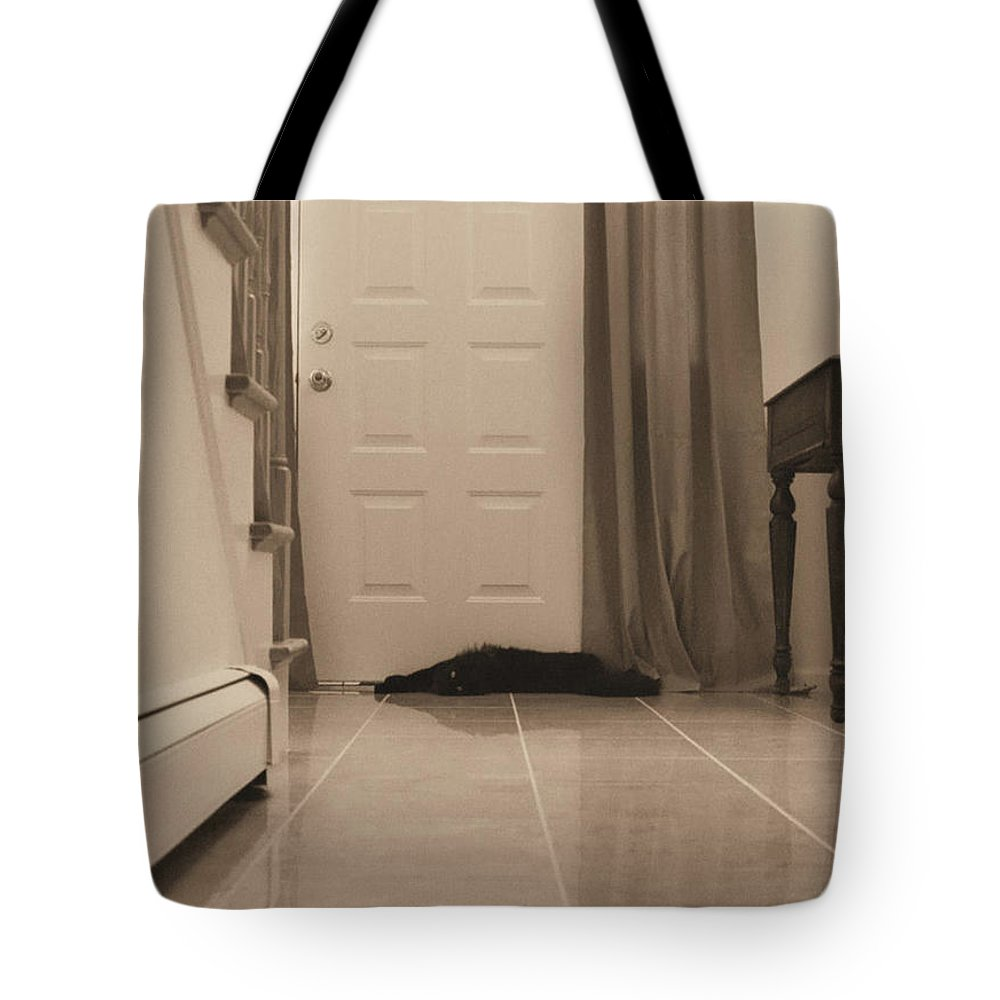 Sepia Photography Tote Bag featuring the photograph Black Cat In Hall by Geoff Jewett