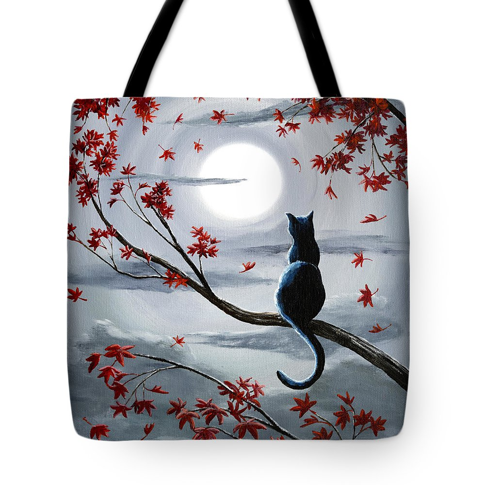Zen Tote Bag featuring the painting Black Cat in Silvery Moonlight by Laura Iverson