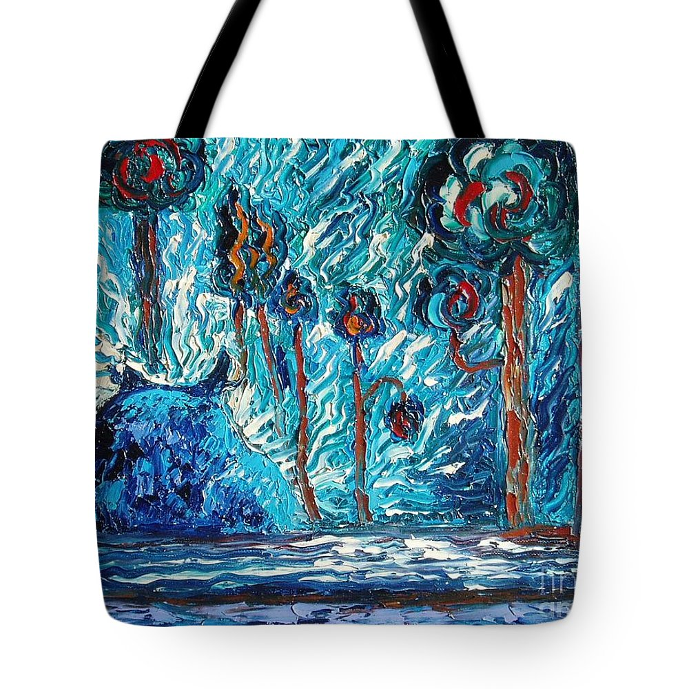 Abstract Cat Paintings Tote Bag featuring the painting Black Cat by Seon-Jeong Kim