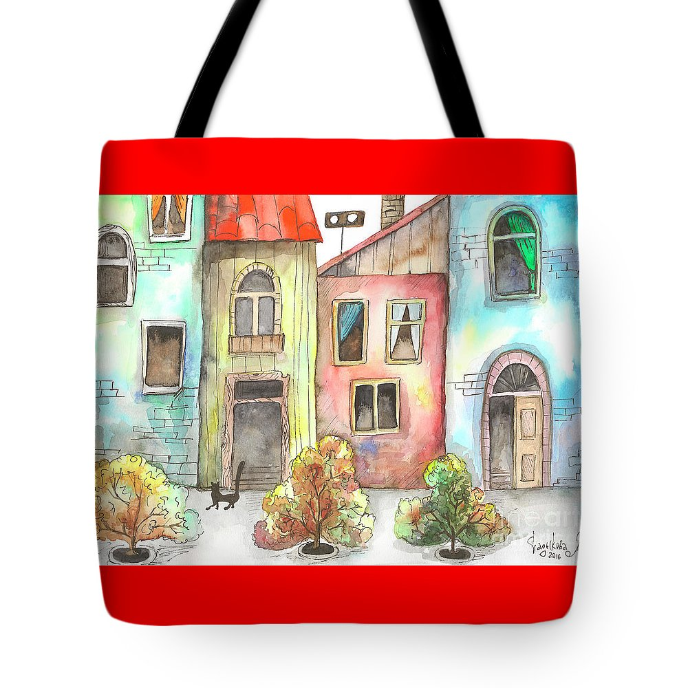 Black Tote Bag featuring the painting Black Cat by Yana Sadykova