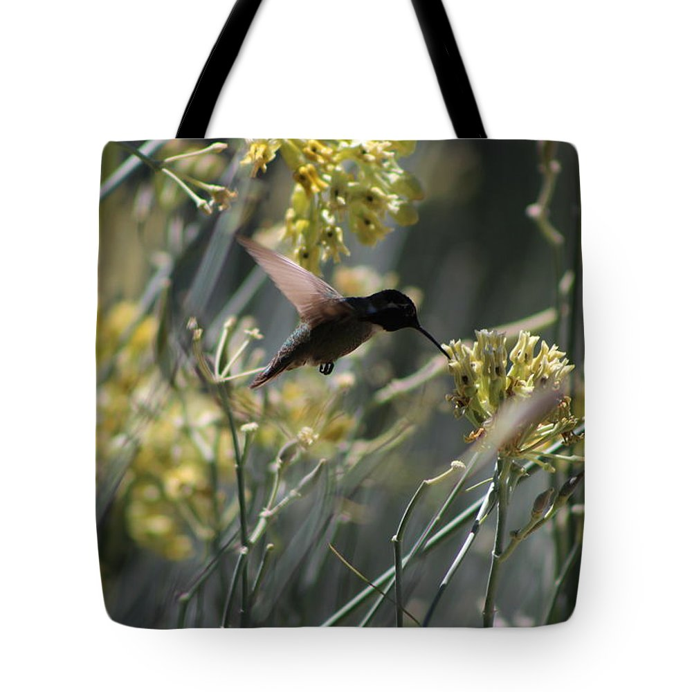 Sunnyland Tote Bag featuring the photograph Black Chinned Hummingbird in Flight by Colleen Cornelius