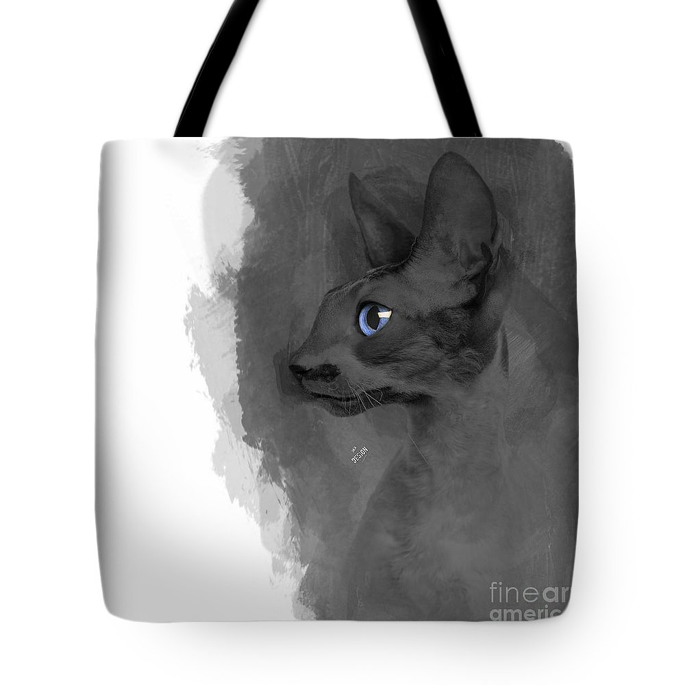 Imia Design Tote Bag featuring the digital art Black Cornish Rex No 04 by Maria Astedt