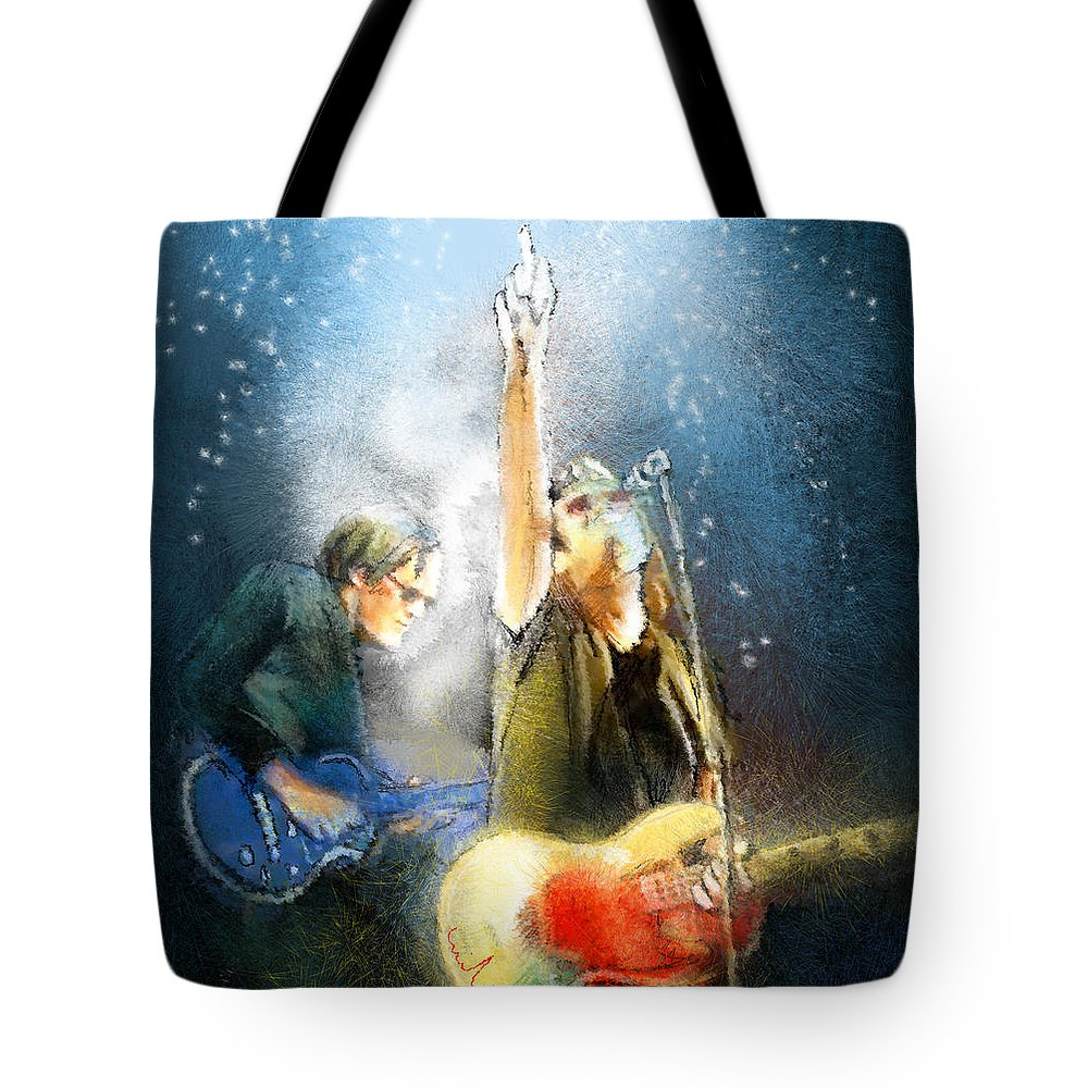 Music Tote Bag featuring the painting Black Country Communion 02 by Miki De Goodaboom