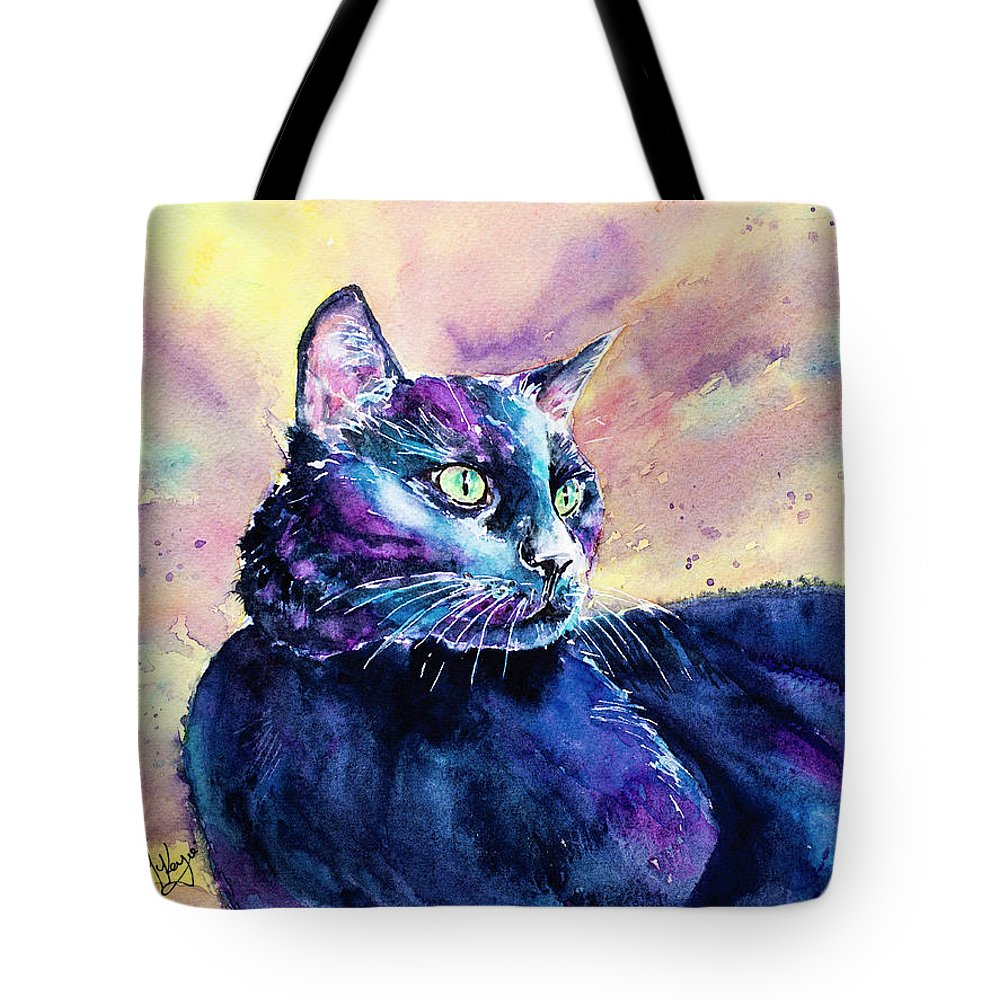 Cat Tote Bag featuring the painting Black Cutie by Carrie McKenzie