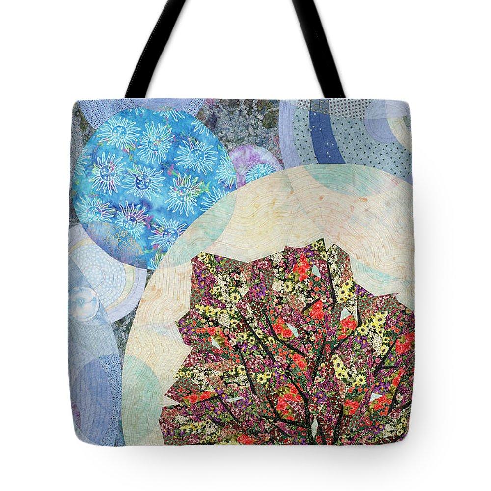 Tree Tote Bag featuring the tapestry - textile Black Elk's Mighty Flowering Tree by Linda Beach