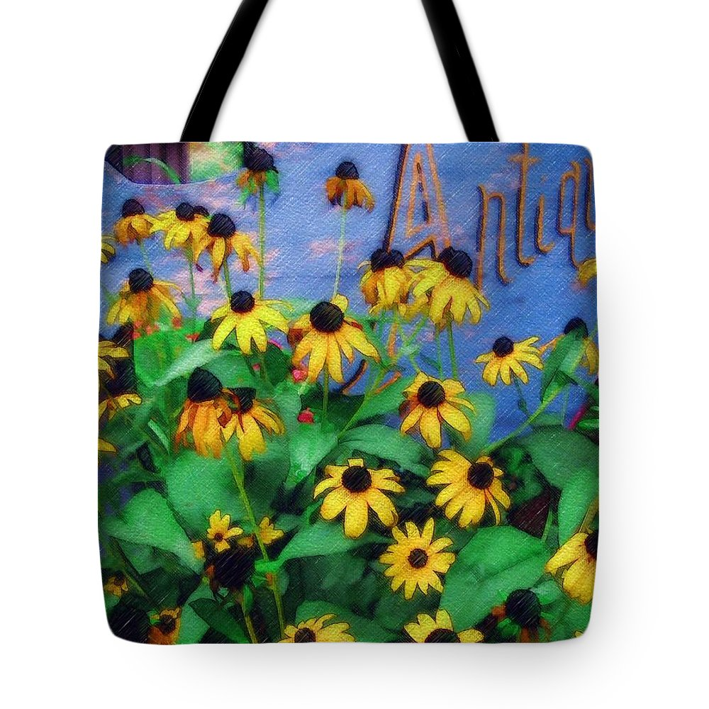 Flowers Tote Bag featuring the photograph Black-eyed Susans At The Bag Factory by Sandy MacGowan