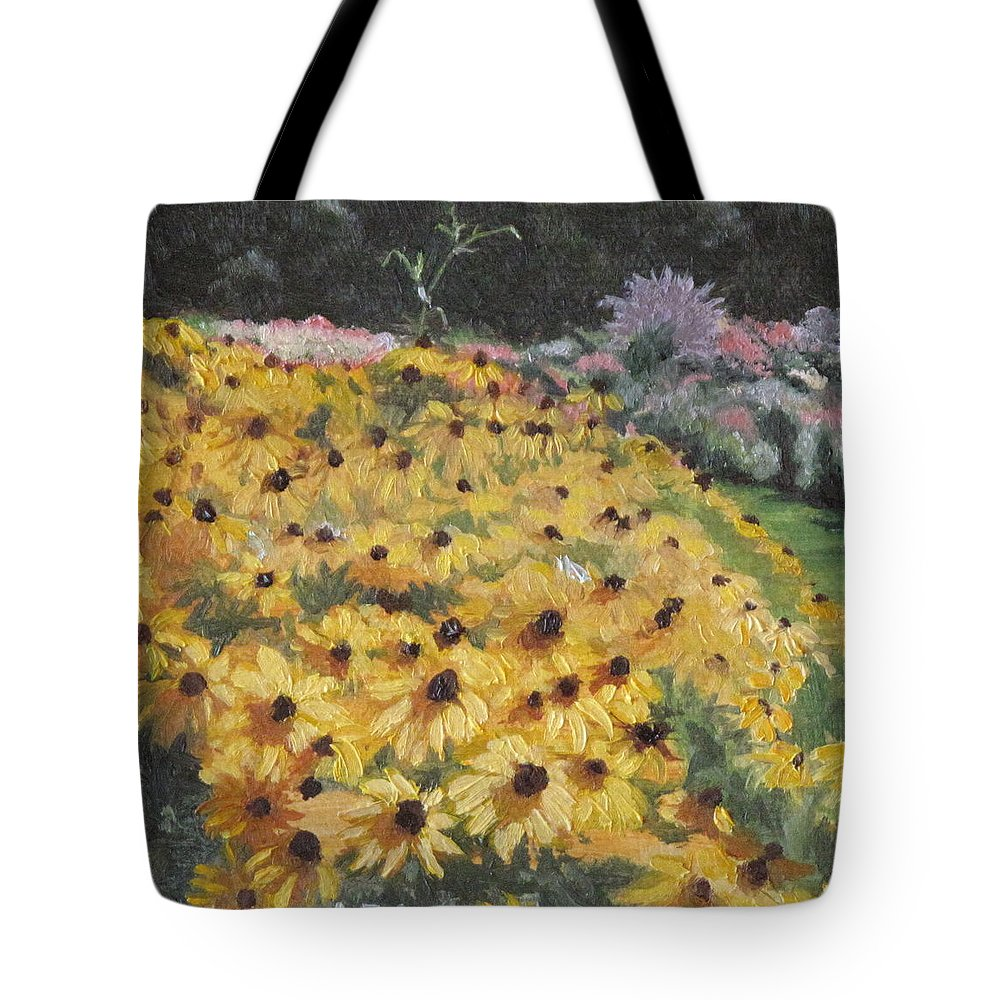 Floral Tote Bag featuring the painting Black-eyed Susans by Lea Novak