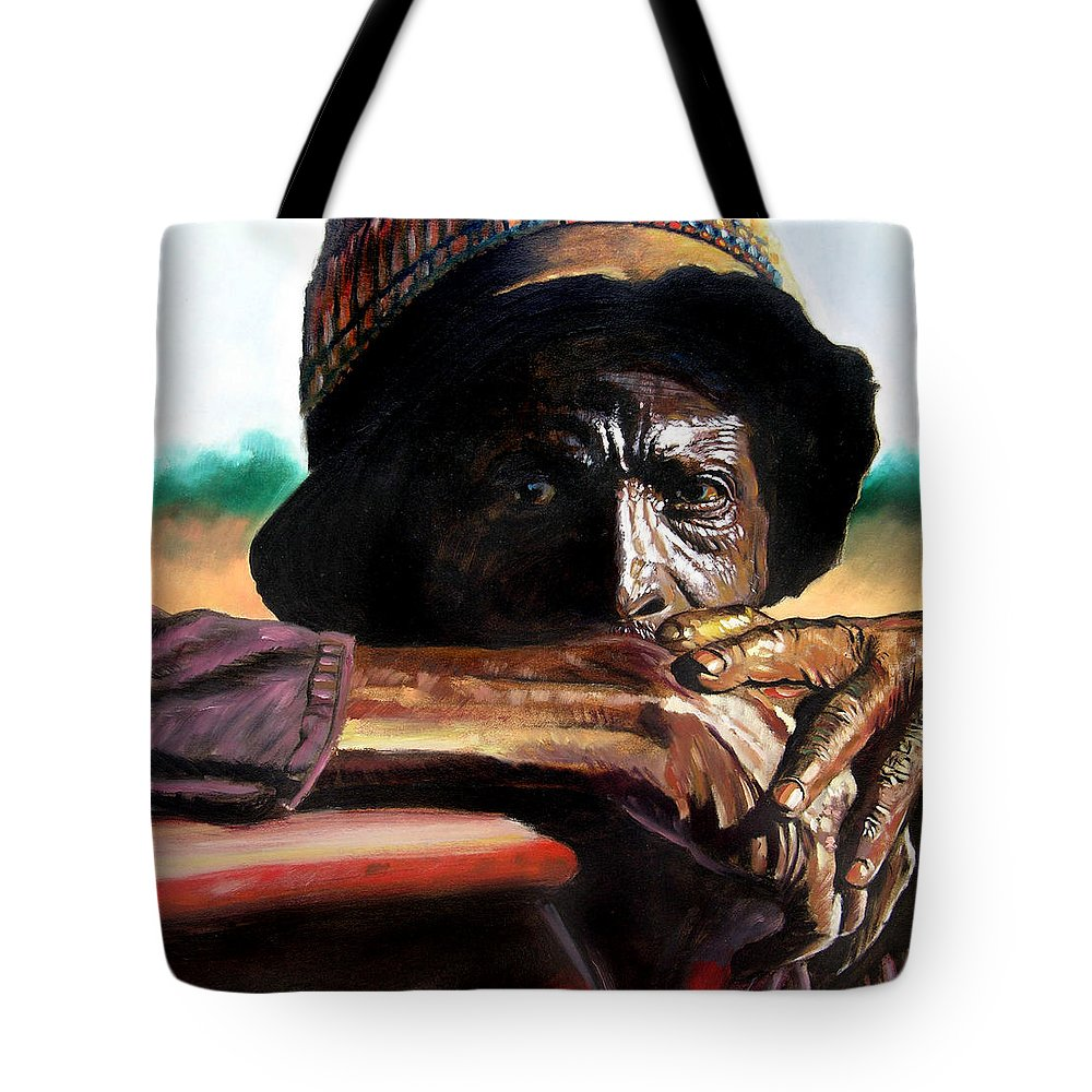 Black Farmer Tote Bag featuring the painting Black Farmer by John Lautermilch