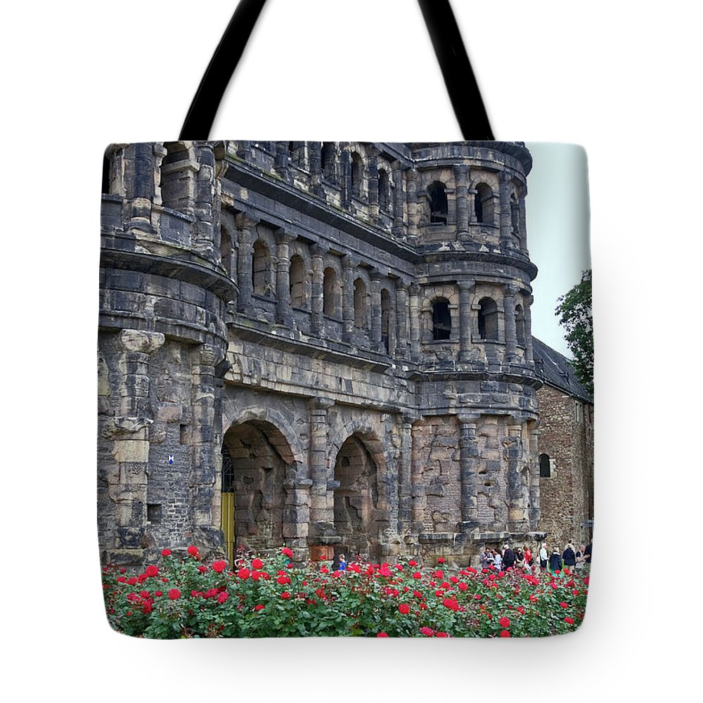 Porta Nigra Tote Bag featuring the photograph Black Gate Trier by Sally Weigand