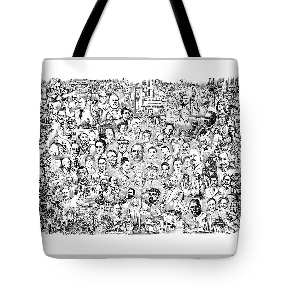 Black History Tote Bag featuring the drawing Black Heritage by Dennis Bivens
