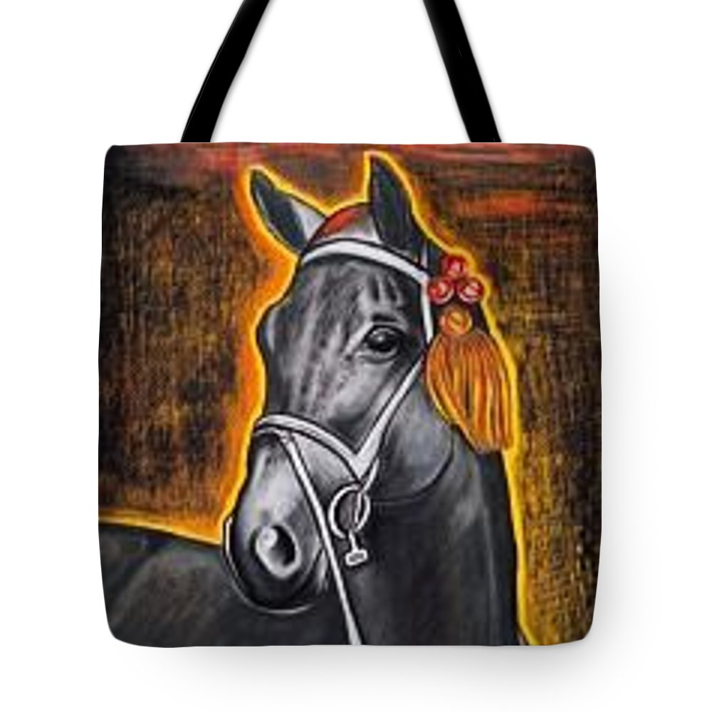 Horse Tote Bag featuring the painting Black Horse by Isabell Von Piotrowski