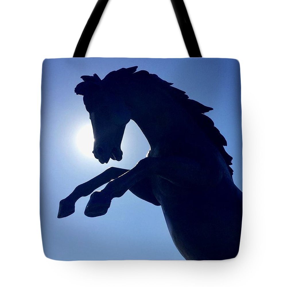 Horse Tote Bag featuring the photograph Black Horse by S M
