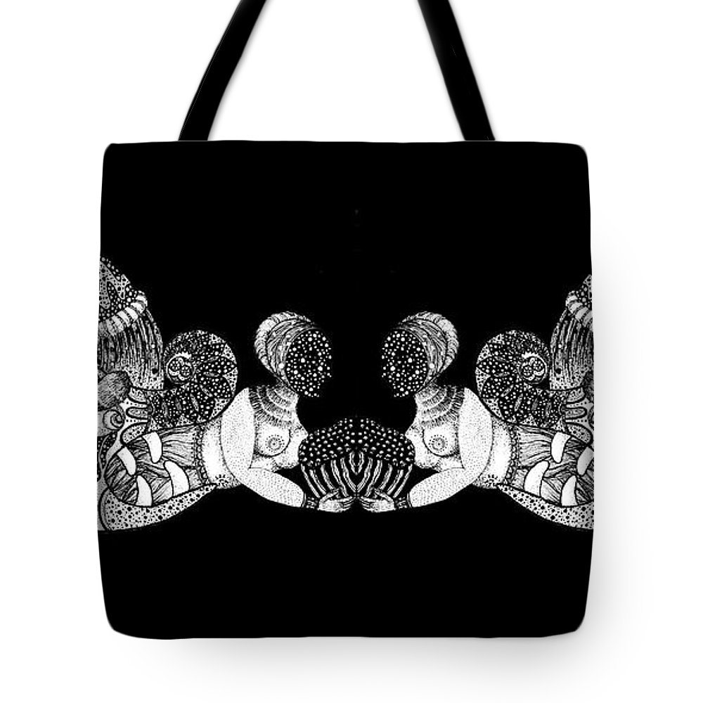 Monster Tote Bag featuring the drawing Black Infinity by Tong Xue