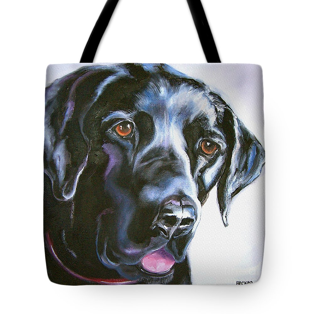 Dogs Tote Bag featuring the painting Black Lab No Ordinary Love by Susan A Becker