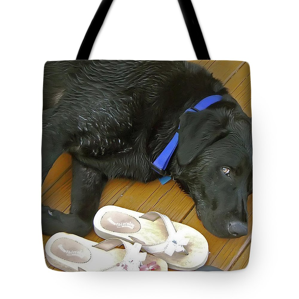 2d Tote Bag featuring the photograph Black Lab Resting by Brian Wallace