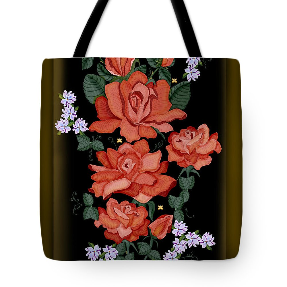 Hand-drawn Digital Painting Tote Bag featuring the painting Black Lacquer Roses by Anne Norskog