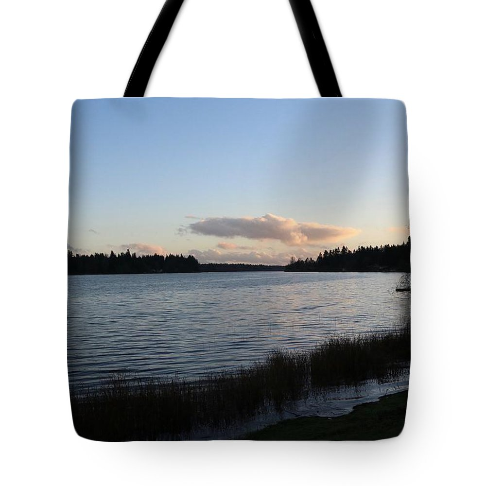 Sunset Tote Bag featuring the photograph Black Lake by Dani Keating