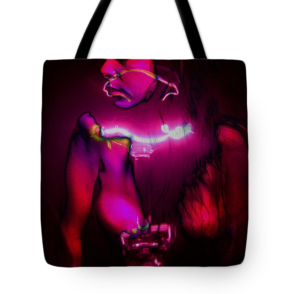Clay Tote Bag featuring the pyrography Black Light Passion by Clayton Bruster