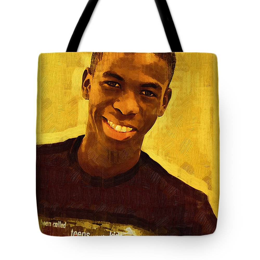 Beautiful Black Children Tote Bag featuring the photograph Young Black Male Teen 2 by Ginger Wakem