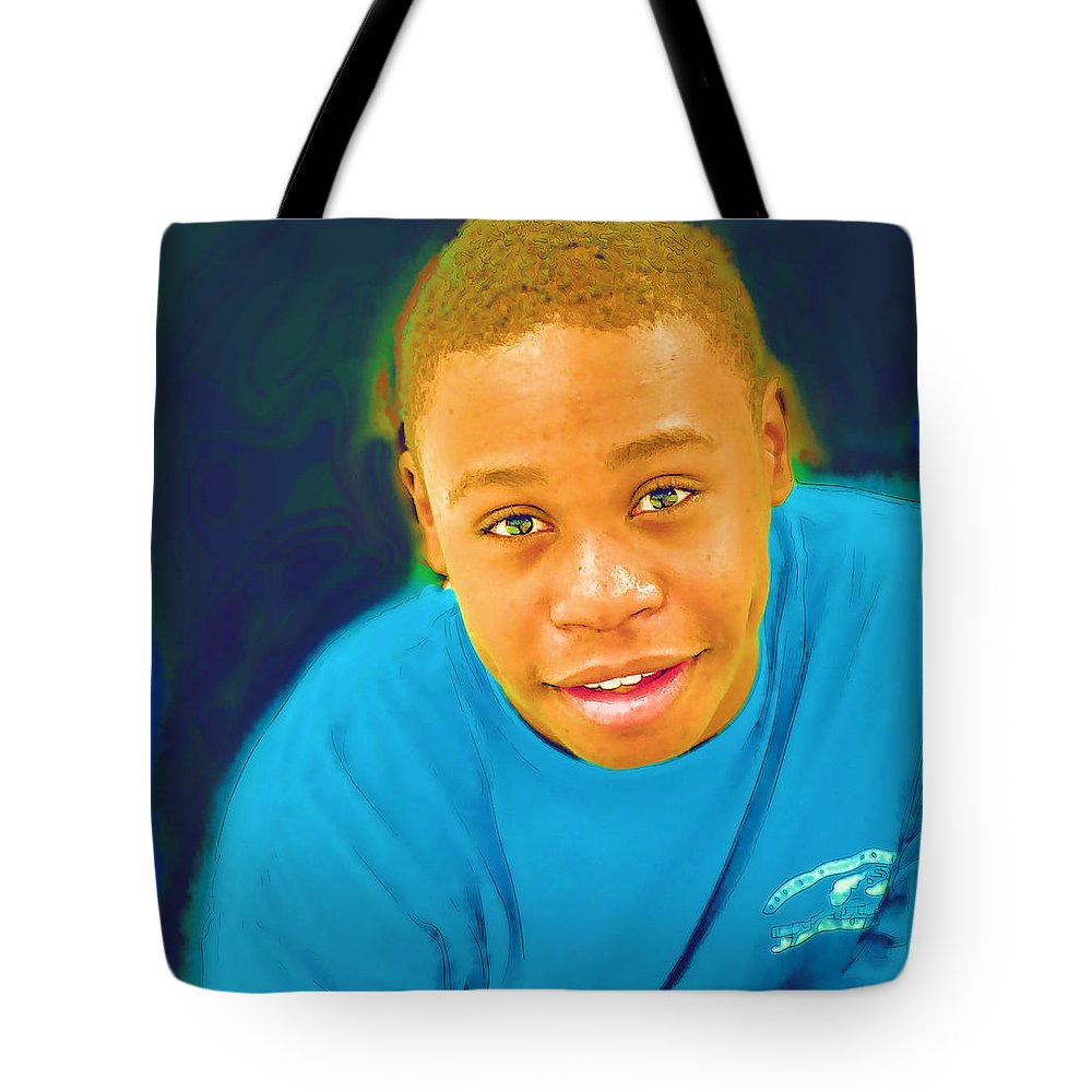 Black Tote Bag featuring the photograph Young Black Male Teen 5 by Ginger Wakem