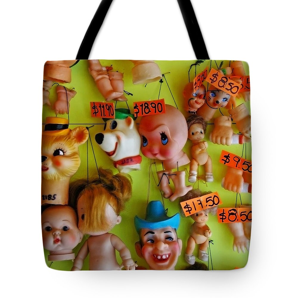 Heads Tote Bag featuring the photograph Black Market Parts by Skip Hunt
