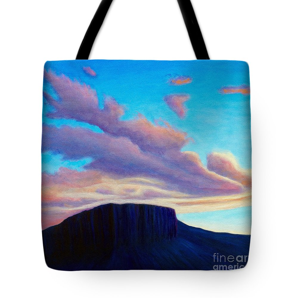 Landscape Tote Bag featuring the painting Black Mesa Sunset by Brian Commerford