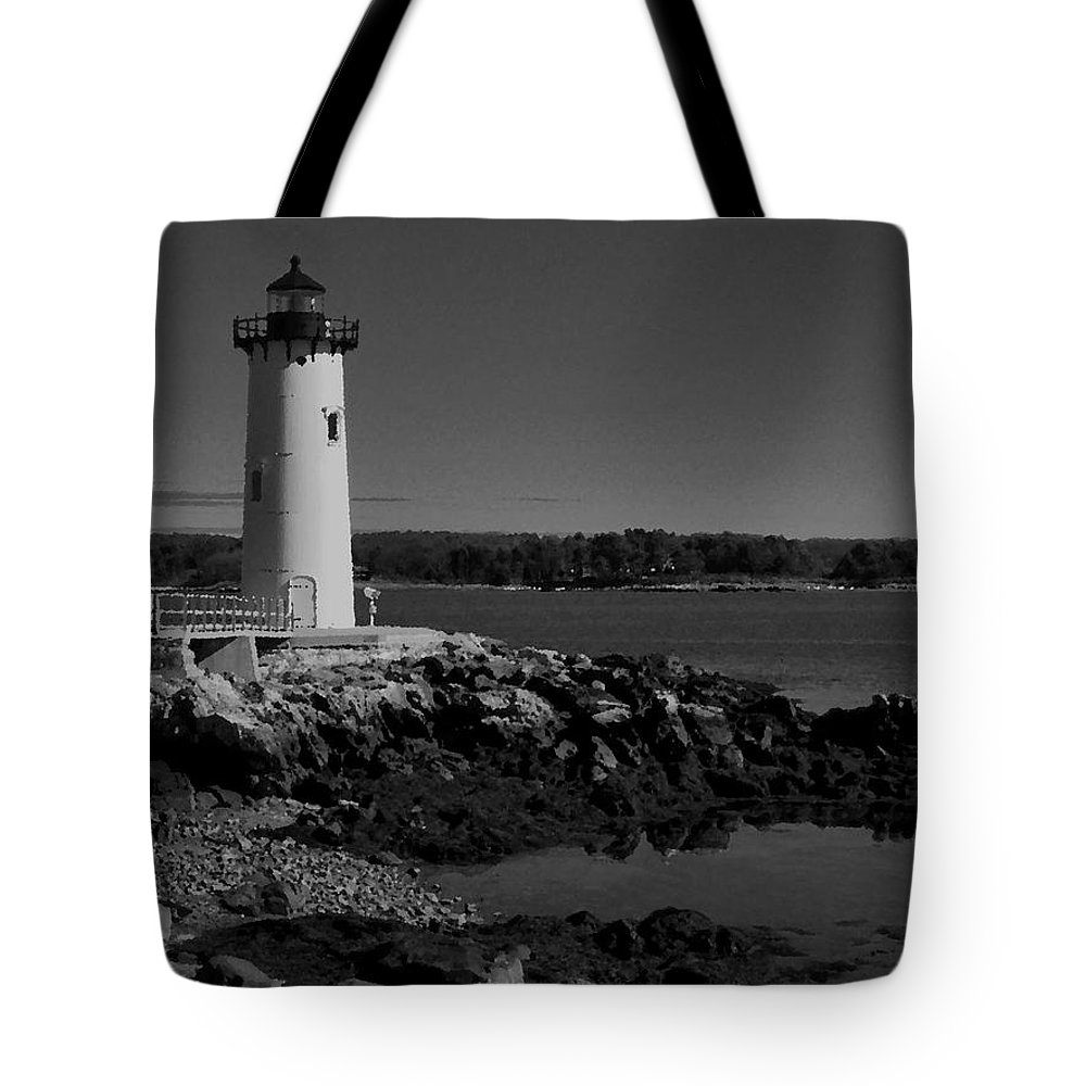 Portsmouth Harbor Lighthouse Tote Bag featuring the photograph Black N White-portsmouth Harbor Lighthouse by Nancie DeMellia