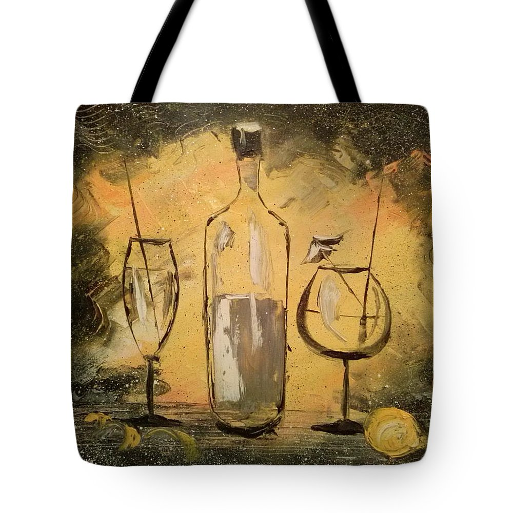 Black On Yellow Tote Bag featuring the painting Black On Yellow by Olha Darchuk