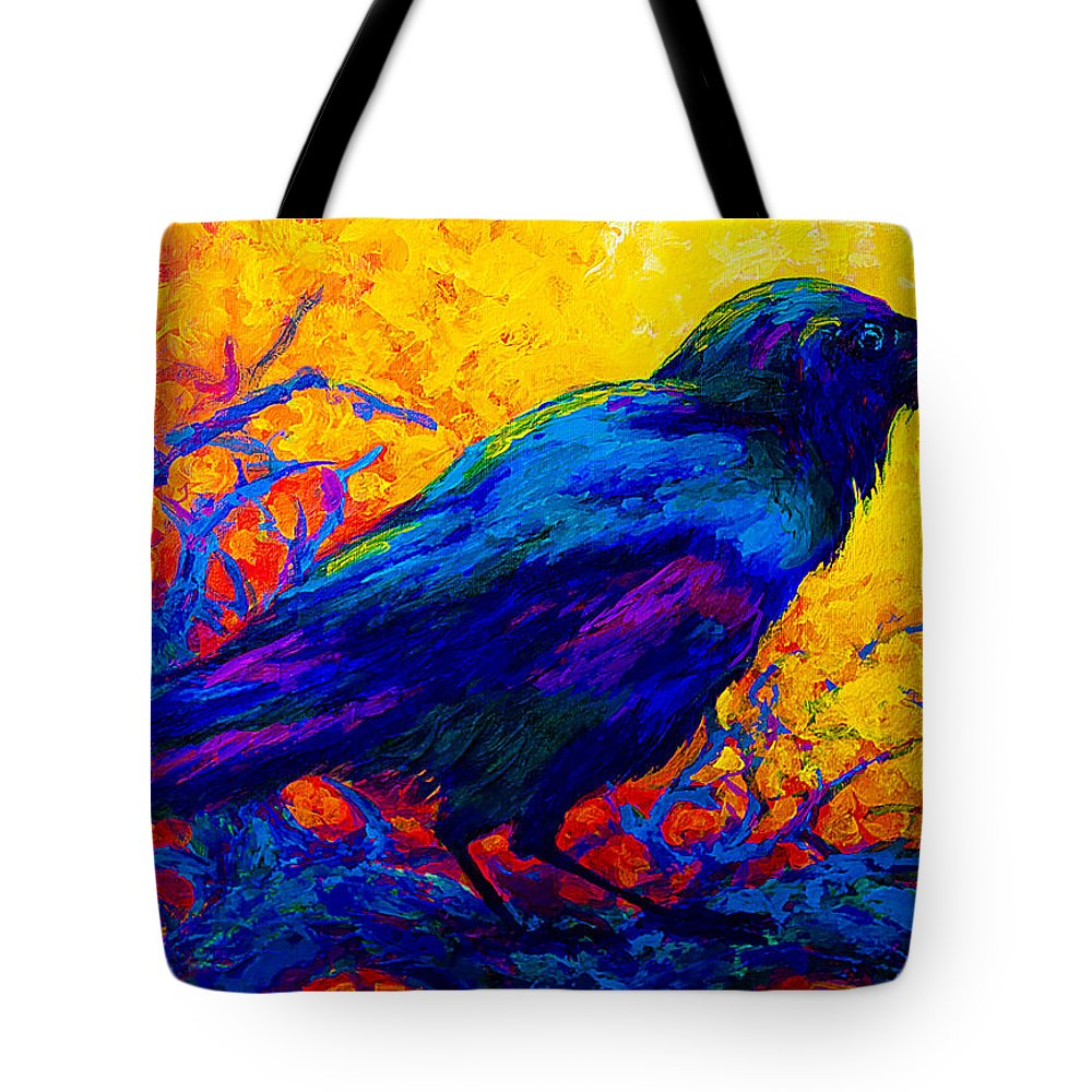 Crows Tote Bag featuring the painting Black Onyx - Raven by Marion Rose