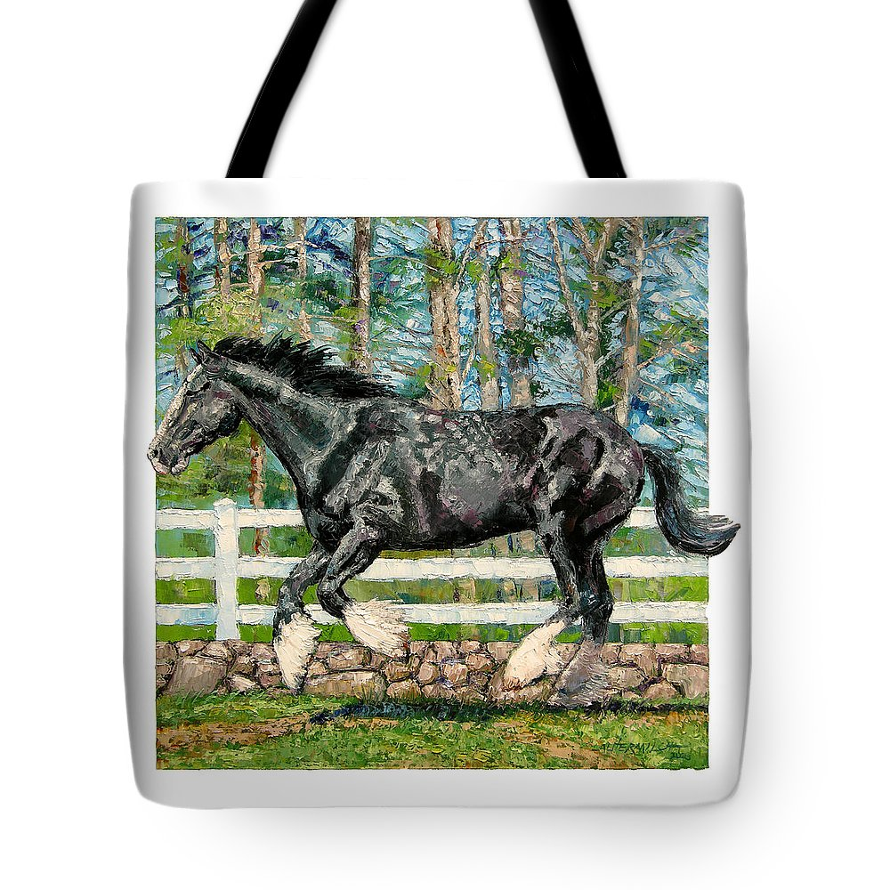 Horse Tote Bag featuring the painting Black Power by John Lautermilch