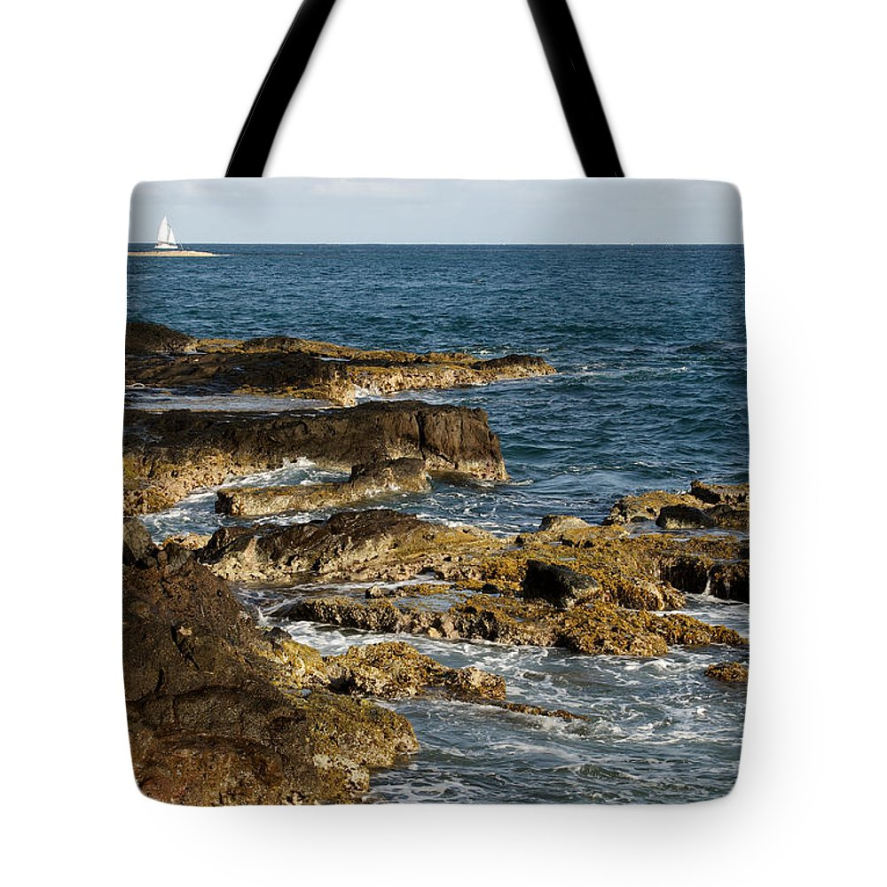 Sailboat Tote Bag featuring the photograph Black Rock Point And Sailboat by Jean Macaluso