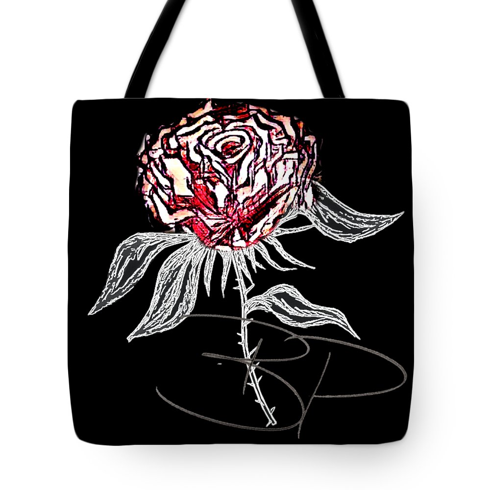 Tote Bag featuring the drawing Black Rose by Brittni Bailie