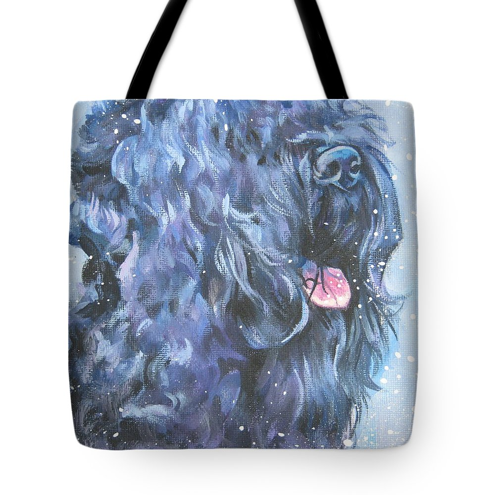 Black Russian Terrier Tote Bag featuring the painting Black Russian Terrier In Snow by Lee Ann Shepard