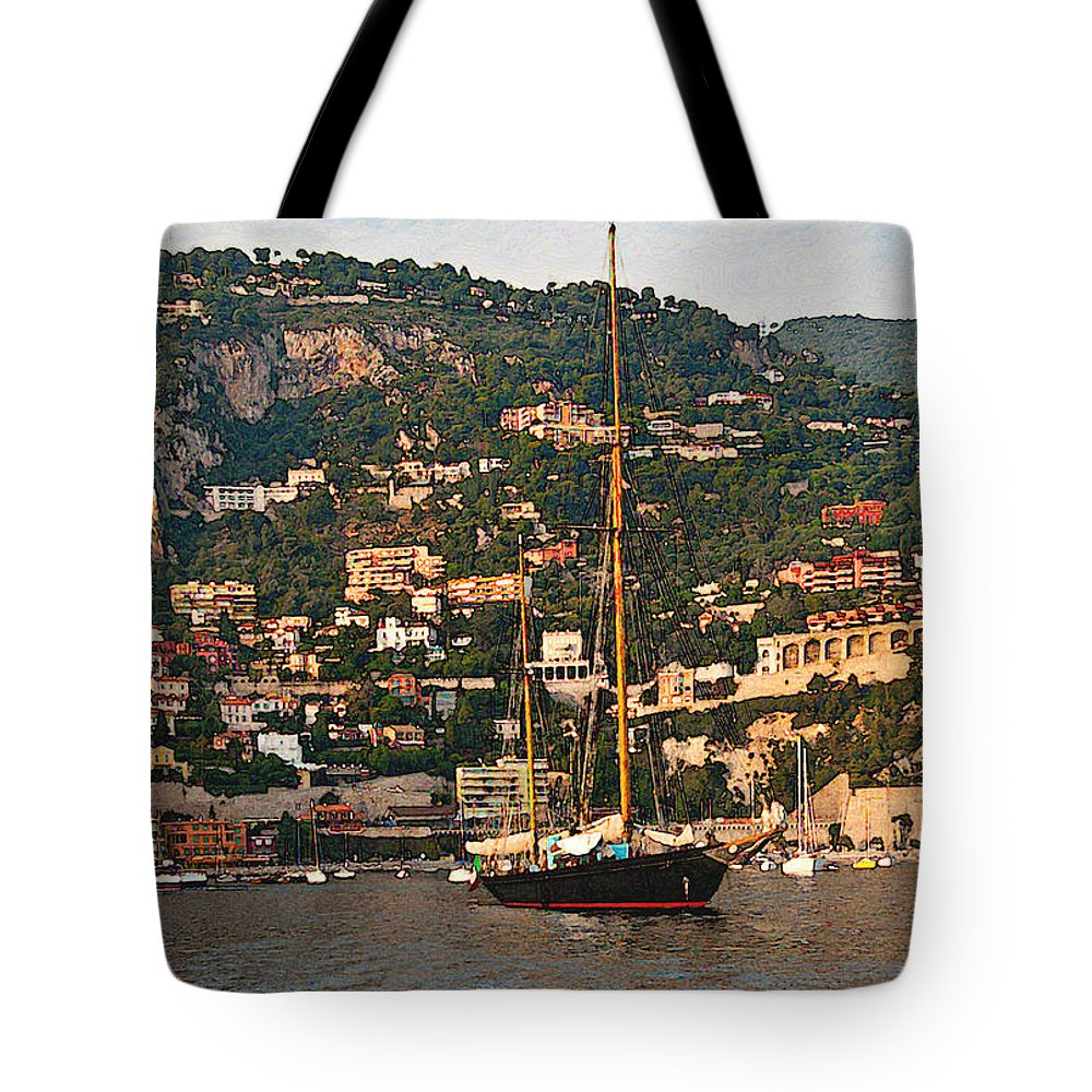 Villefranche Tote Bag featuring the photograph Black Sailboat At Villefranche II by Steven Sparks