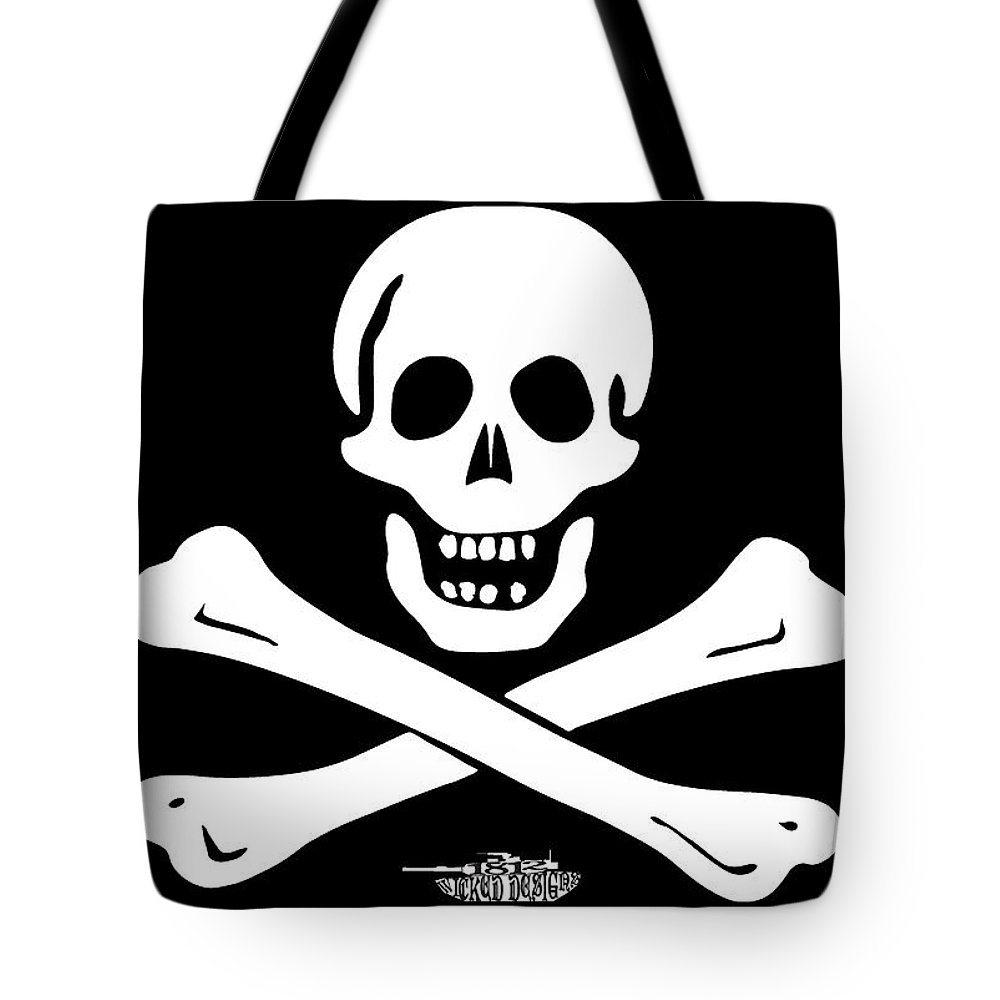 Black Sam Tote Bag featuring the digital art Black Sam by 1812 Wicked Designs