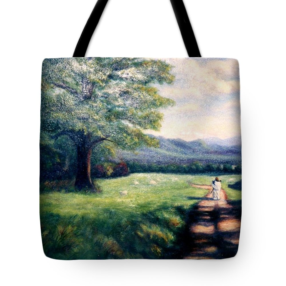 Christian Tote Bag featuring the painting Black Sheep by Gail Kirtz