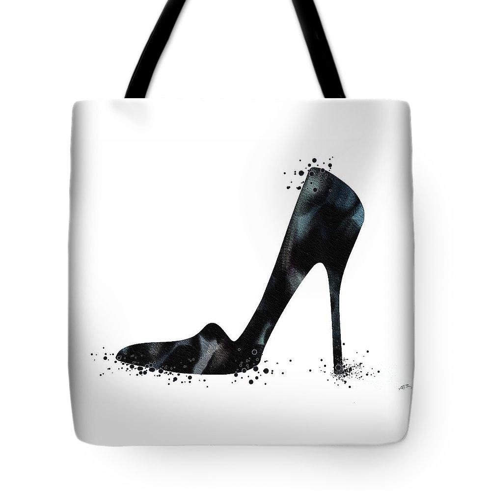Watercolor Print Tote Bag featuring the digital art Black Shoe Fashion Watercolor Print by Svetla Tancheva