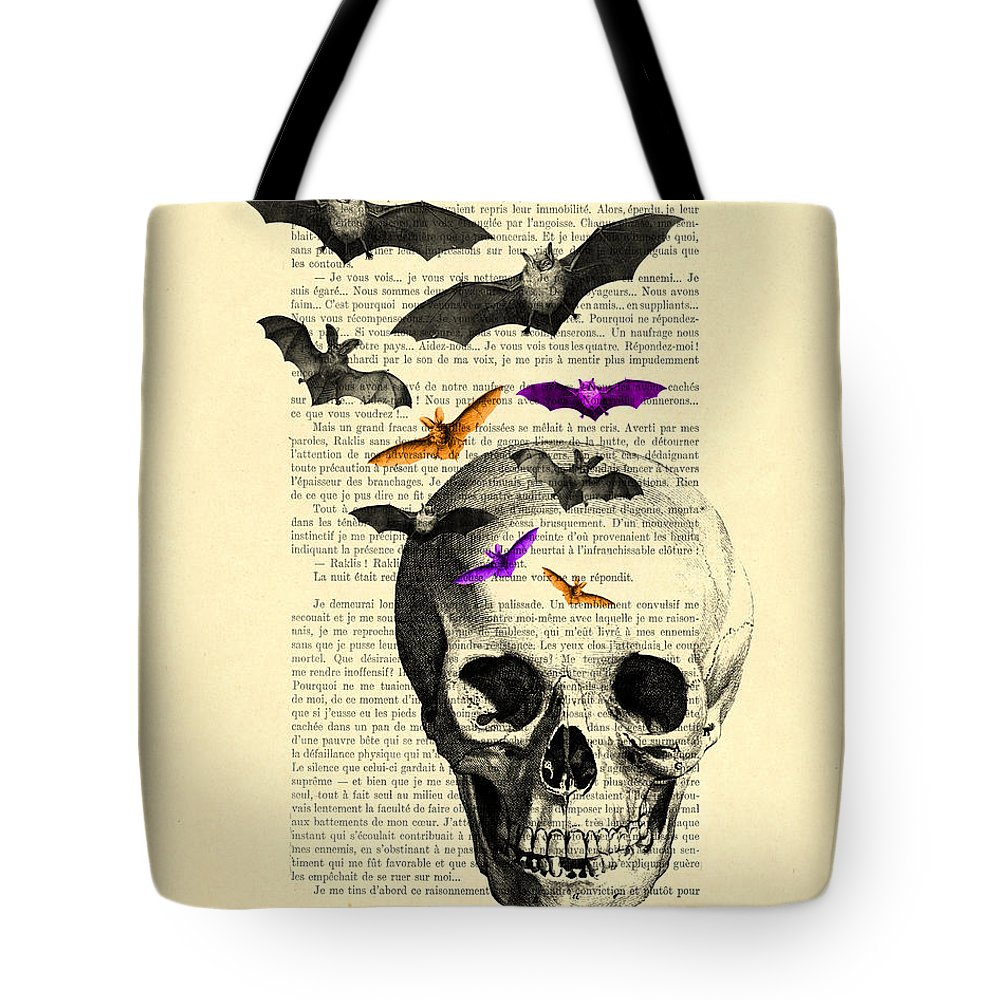 Bat Tote Bag featuring the digital art Black Skull And Bats On A Dictionary Page by Madame Memento