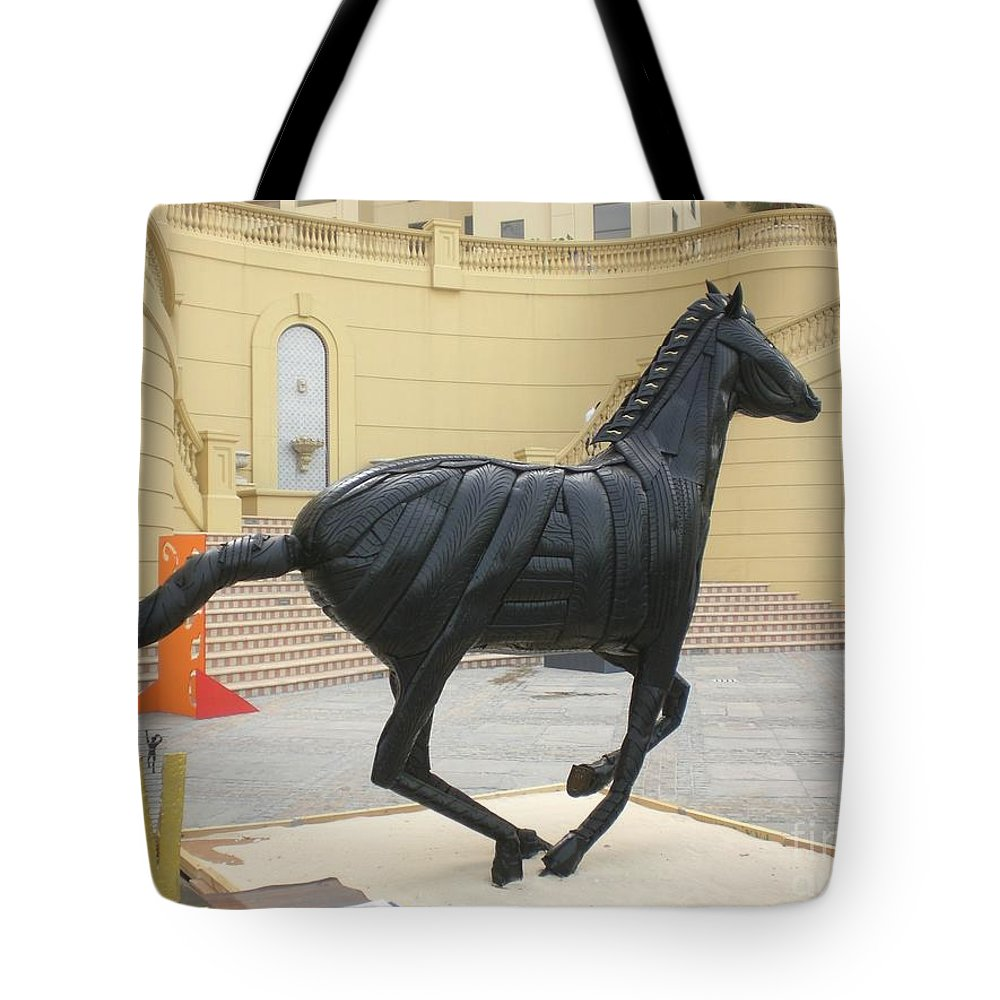 Horse Tote Bag featuring the sculpture Black Stalion Tyre Sculpture by Mo Siakkou-Flodin