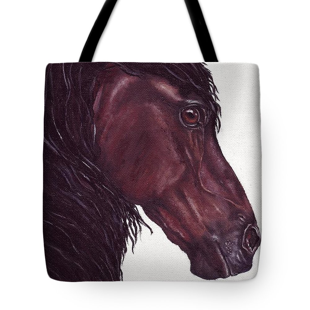 Horse Tote Bag featuring the painting Black Sterling I by Kristen Wesch