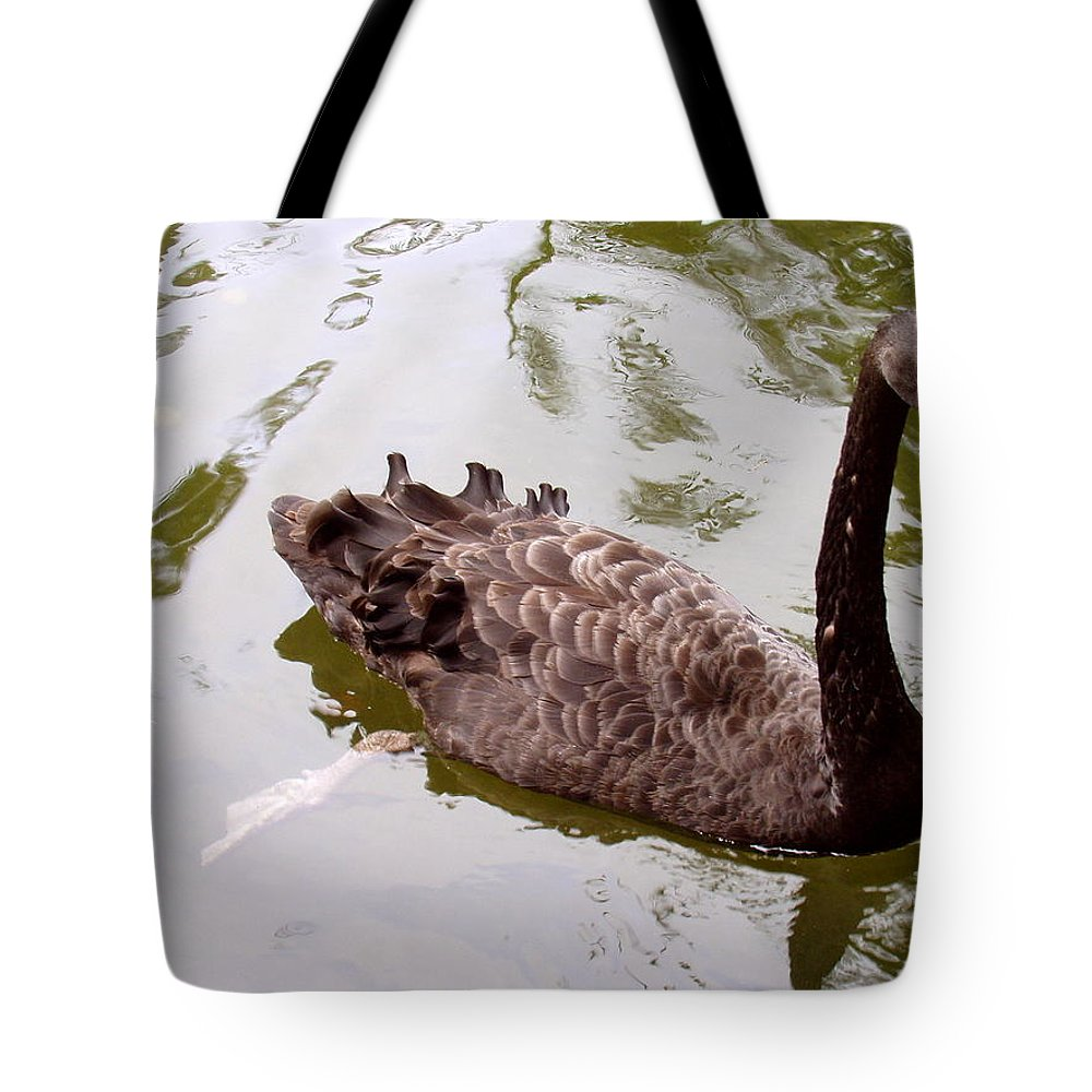 Black Tote Bag featuring the photograph Black Swan Poised by Deborah Crew-Johnson