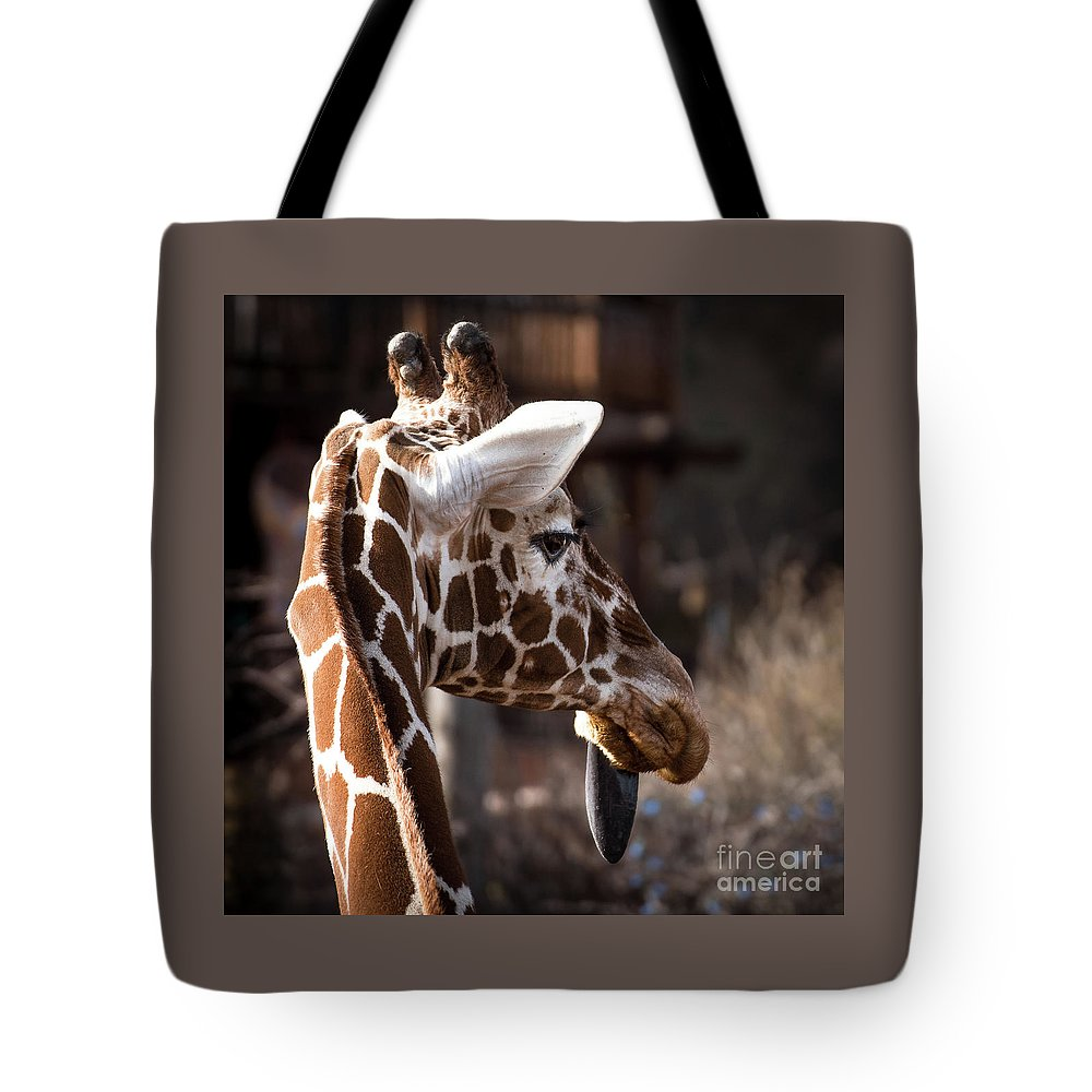 Colorado Springs Zoo Tote Bag featuring the photograph Black Tongue Of The Giraffe by Jennifer Mitchell