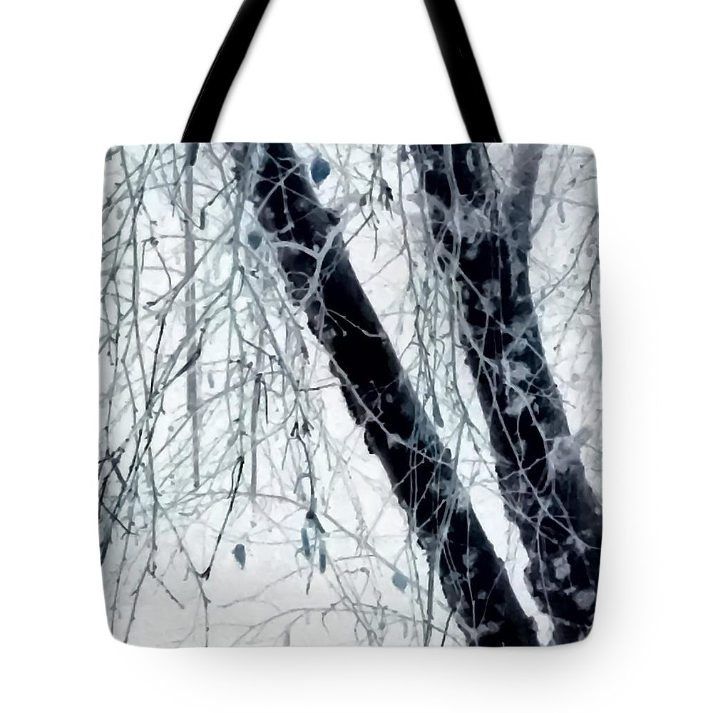 Black Tree White Night Tote Bag featuring the photograph Black Tree White Night by Heather Joyce Morrill