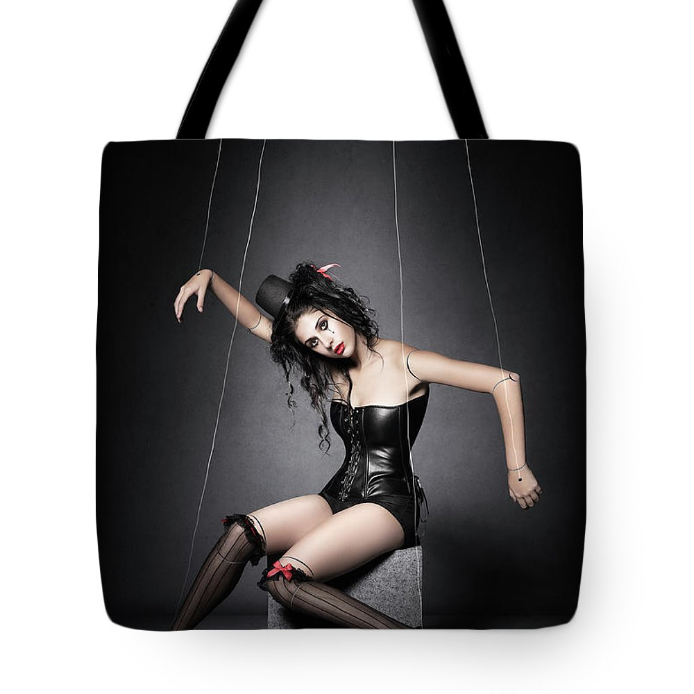 Marionette Tote Bag featuring the photograph Black Widow Marionette Puppet by Johan Swanepoel
