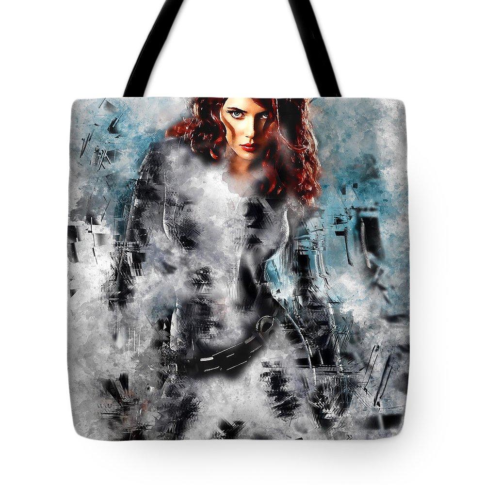 Black Widow Tote Bag featuring the mixed media Black Widow Scarlett Johansson by Love Art